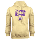 Champion Vegas Gold Fleece Hood-Game Set Match Tennis Design