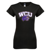 Next Level Ladies SoftStyle Junior Fitted Black Tee-WCU w/Head