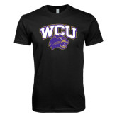 Next Level SoftStyle Black T Shirt-WCU w/Head