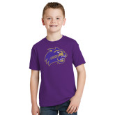 Youth Purple T Shirt-Catamount Head