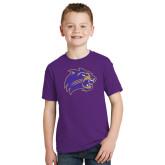Youth Purple T Shirt-Catamount Head