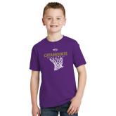 Youth Purple T Shirt-Basketball Net Design