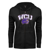 ENZA Ladies Black Fleece Full Zip Hoodie-WCU w/Head