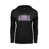 ENZA Ladies Black Fleece Full Zip Hoodie-Western Carolina Catamounts