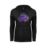 ENZA Ladies Black Fleece Full Zip Hoodie-Catamount Head