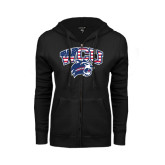 ENZA Ladies Black Fleece Full Zip Hoodie-Stars and Stripes