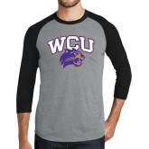 Grey/Black Tri Blend Baseball Raglan-WCU w/Head