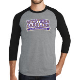 Grey/Black Tri Blend Baseball Raglan-Western Carolina Catamounts