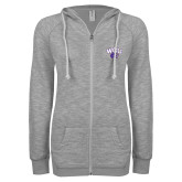 ENZA Ladies Grey/Black Marled Full Zip Hoodie-WCU w/Head