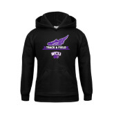 Youth Black Fleece Hoodie-Track and Field Side Shoe Design