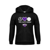 Youth Black Fleece Hoodie-Peace Love and Volleyball Design