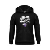 Youth Black Fleece Hoodie-Game Set Match Tennis Design