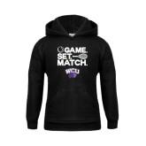 Youth Black Fleece Hood-Game Set Match Tennis Design
