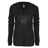 ENZA Ladies Black Light Weight Fleece Full Zip Hoodie-WCU w Wildcat Head Graphite Soft Glitter