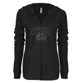 ENZA Ladies Black Light Weight Fleece Full Zip Hoodie-WCU w Wildcat Head Graphite Soft Glitter