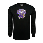 Black Long Sleeve TShirt-Western Carolina Catamounts Stacked