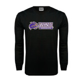 Black Long Sleeve TShirt-Western Carolina Catamounts Side Logo