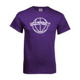 Purple T Shirt-Basketball Ball Design