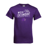 Purple T Shirt-Basketball Stacked Design
