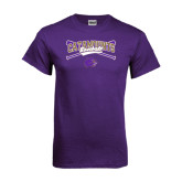 Purple T Shirt-Baseball Crossed Bats Design