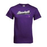Purple T Shirt-Baseball Script w/ Bat Design