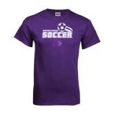 Purple T Shirt-Soccer Swoosh Design