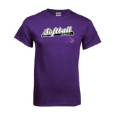 Purple T Shirt-Softball Script w/ Bat Design
