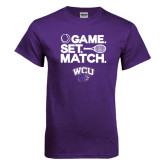 Purple T Shirt-Game Set Match Tennis Design