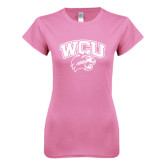 Next Level Ladies SoftStyle Junior Fitted Pink Tee-WCU w/Head