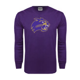 Purple Long Sleeve T Shirt-Catamount Head