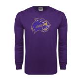 Purple Long Sleeve T Shirt-Catamount Head