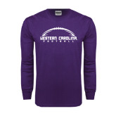 Purple Long Sleeve T Shirt-Arched Football Design