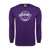 Purple Long Sleeve T Shirt-Basketball Ball Design