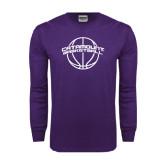Purple Long Sleeve T Shirt-Basketball Ball Design