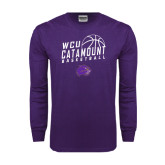 Purple Long Sleeve T Shirt-Basketball Stacked Design