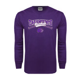 Purple Long Sleeve T Shirt-Baseball Crossed Bats Design