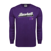Purple Long Sleeve T Shirt-Baseball Script w/ Bat Design