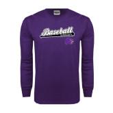 Purple Long Sleeve T Shirt-Baseball Script w/ Bat Design