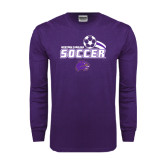 Purple Long Sleeve T Shirt-Soccer Swoosh Design