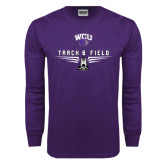 Purple Long Sleeve T Shirt-Track and Field Shoe Design