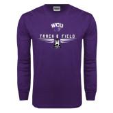 Purple Long Sleeve T Shirt-Track and Field Shoe Design