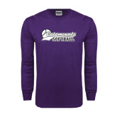 Purple Long Sleeve T Shirt-Softball Script Design