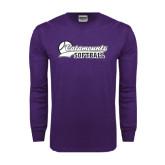 Purple Long Sleeve T Shirt-Softball Script Design