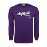 Purple Long Sleeve T Shirt-Softball Script w/ Bat Design