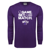 Purple Long Sleeve T Shirt-Game Set Match Tennis Design