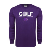 Purple Long Sleeve T Shirt-Golf Ball Design