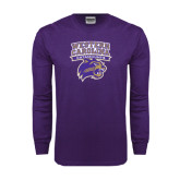 Purple Long Sleeve T Shirt-Western Carolina Catamounts Stacked