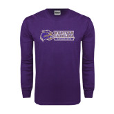 Purple Long Sleeve T Shirt-Western Carolina Catamounts Side Logo