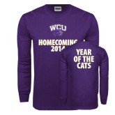 Purple Long Sleeve T Shirt-WCU Homecoming 2014