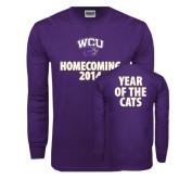 Purple Long Sleeve T Shirt-WCU Homecoming 2014